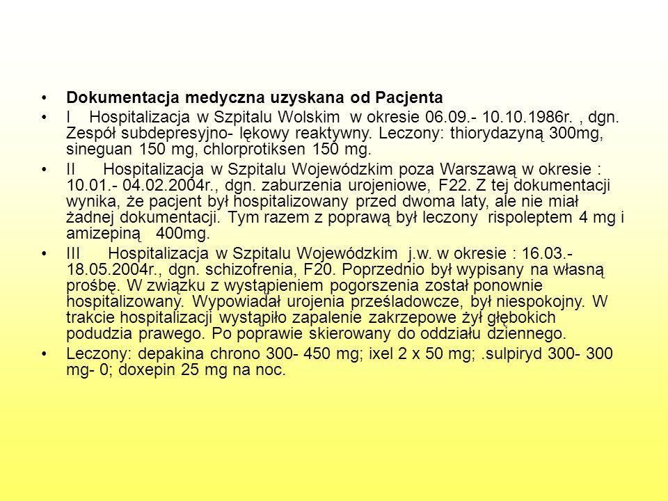 Dokumentacja medyczna uzyskana od Pacjenta