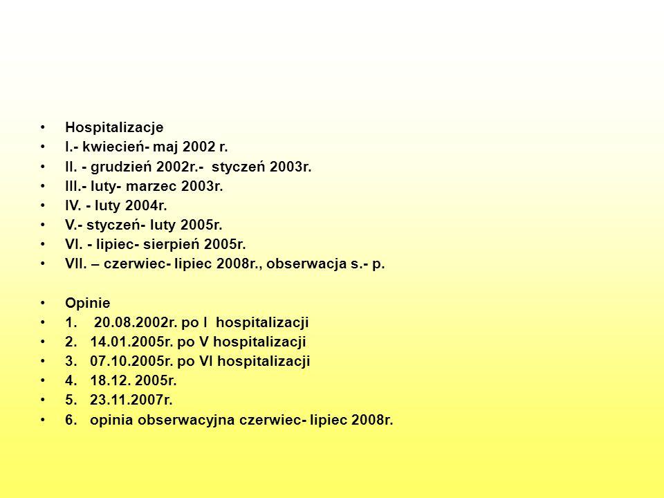 Hospitalizacje I.- kwiecień- maj 2002 r. II. - grudzień 2002r.- styczeń 2003r. III.- luty- marzec 2003r.
