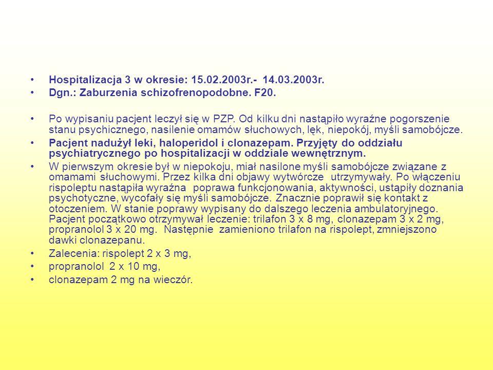 Hospitalizacja 3 w okresie: 15.02.2003r.- 14.03.2003r.