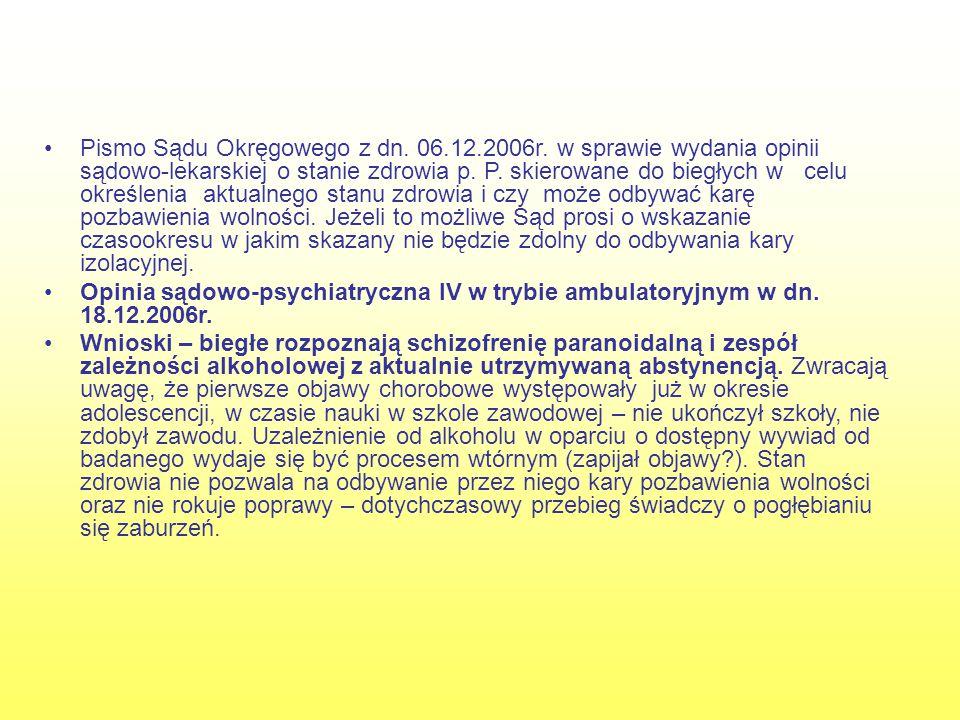 Pismo Sądu Okręgowego z dn. 06. 12. 2006r