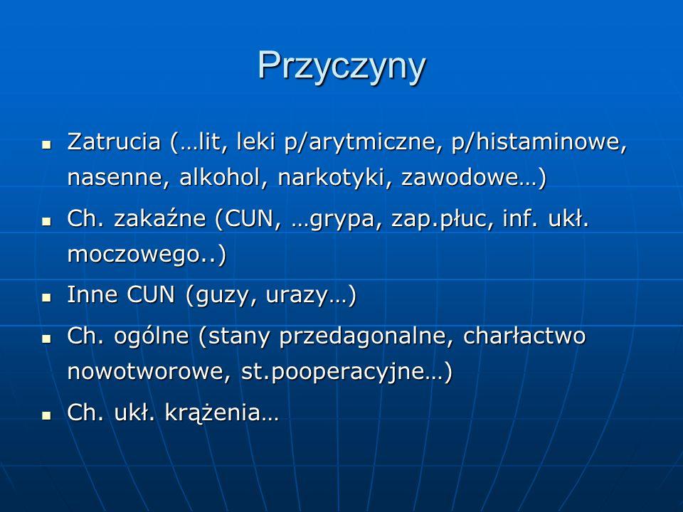 Przyczyny Zatrucia (…lit, leki p/arytmiczne, p/histaminowe, nasenne, alkohol, narkotyki, zawodowe…)
