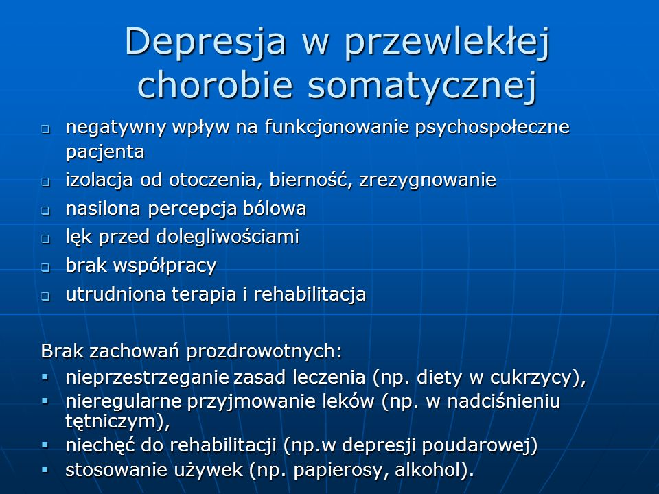 Depresja w przewlekłej chorobie somatycznej