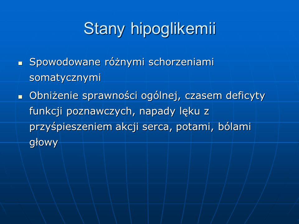 Stany hipoglikemii Spowodowane różnymi schorzeniami somatycznymi
