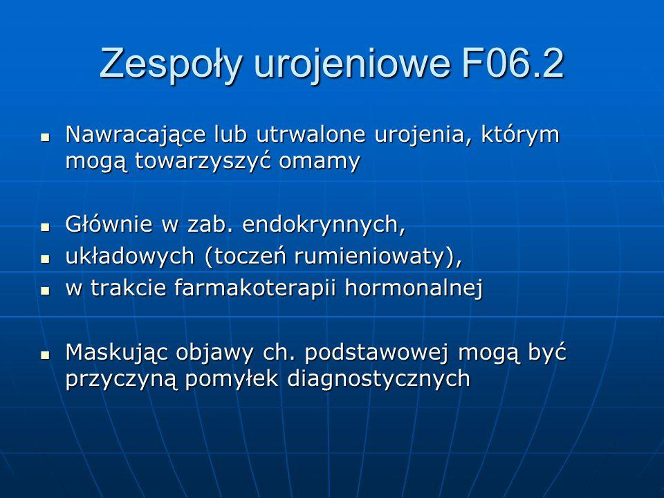 Zespoły urojeniowe F06.2 Nawracające lub utrwalone urojenia, którym mogą towarzyszyć omamy. Głównie w zab. endokrynnych,