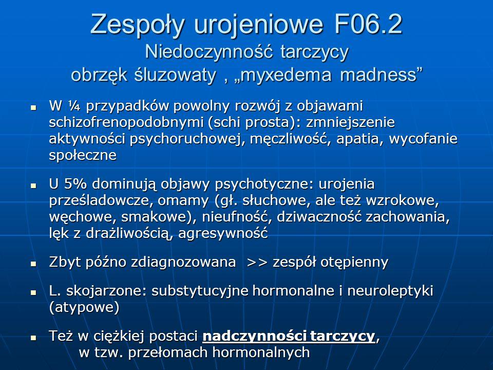"""Zespoły urojeniowe F06.2 Niedoczynność tarczycy obrzęk śluzowaty , """"myxedema madness"""