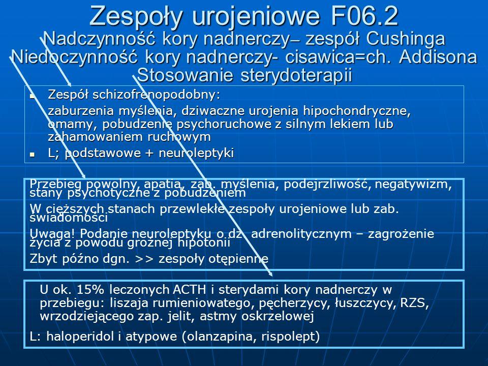 Zespoły urojeniowe F06.2 Nadczynność kory nadnerczy– zespół Cushinga Niedoczynność kory nadnerczy- cisawica=ch. Addisona Stosowanie sterydoterapii
