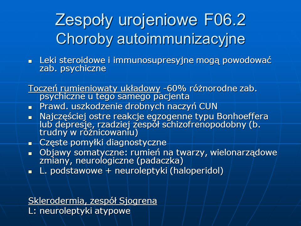 Zespoły urojeniowe F06.2 Choroby autoimmunizacyjne