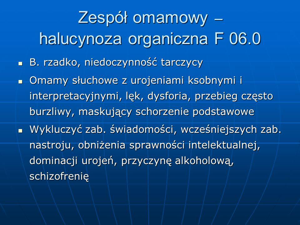 Zespół omamowy – halucynoza organiczna F 06.0