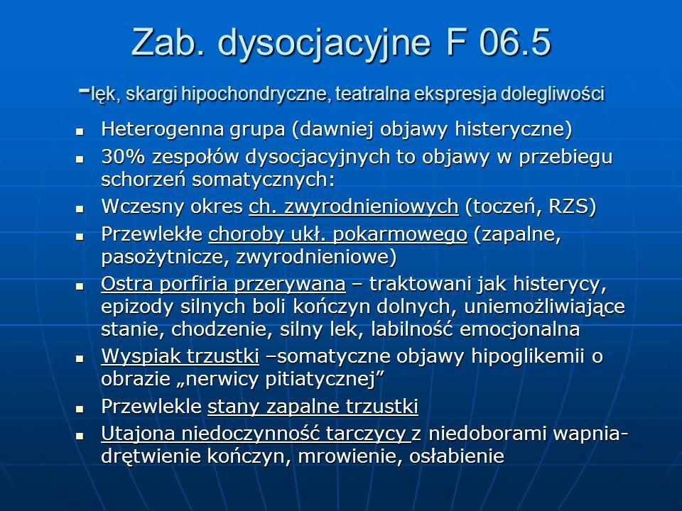 Zab. dysocjacyjne F 06.5 -lęk, skargi hipochondryczne, teatralna ekspresja dolegliwości