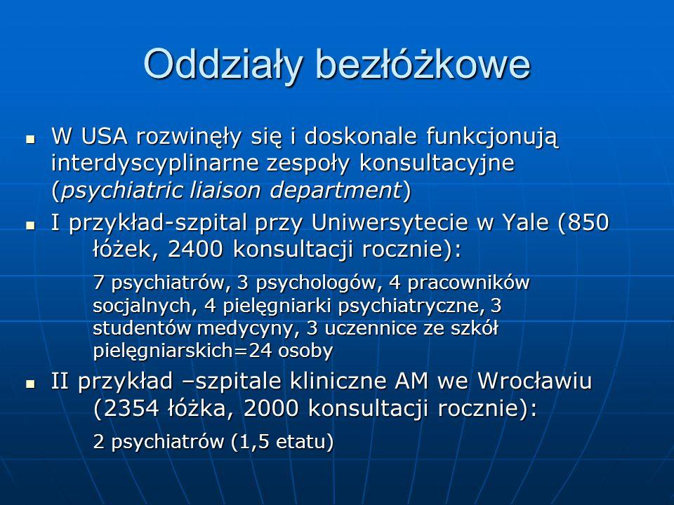 Oddziały bezłóżkowe W USA rozwinęły się i doskonale funkcjonują interdyscyplinarne zespoły konsultacyjne (psychiatric liaison department)