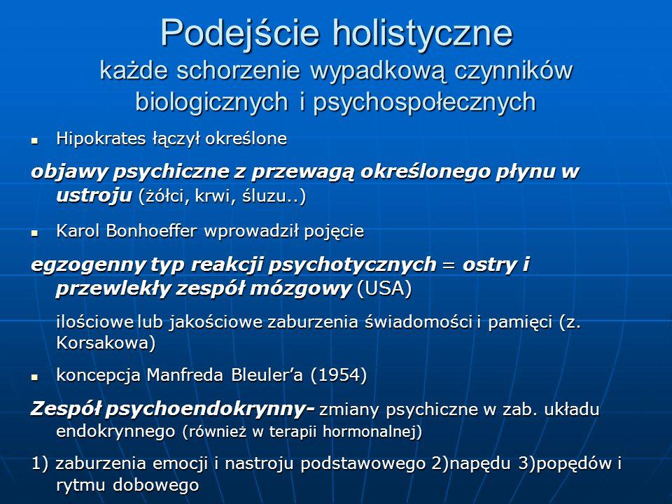 Podejście holistyczne każde schorzenie wypadkową czynników biologicznych i psychospołecznych