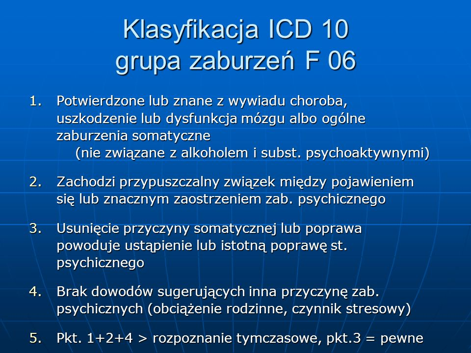 Klasyfikacja ICD 10 grupa zaburzeń F 06