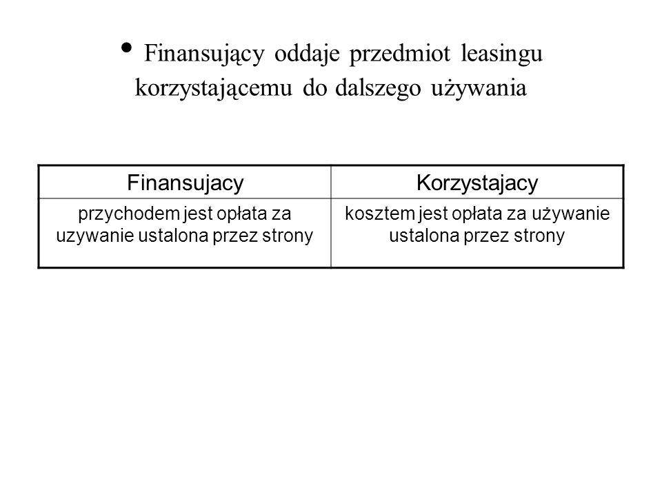 Finansujący oddaje przedmiot leasingu korzystającemu do dalszego używania
