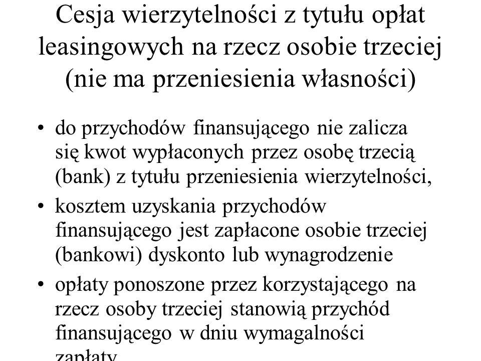 Cesja wierzytelności z tytułu opłat leasingowych na rzecz osobie trzeciej (nie ma przeniesienia własności)