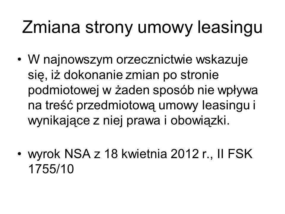 Zmiana strony umowy leasingu