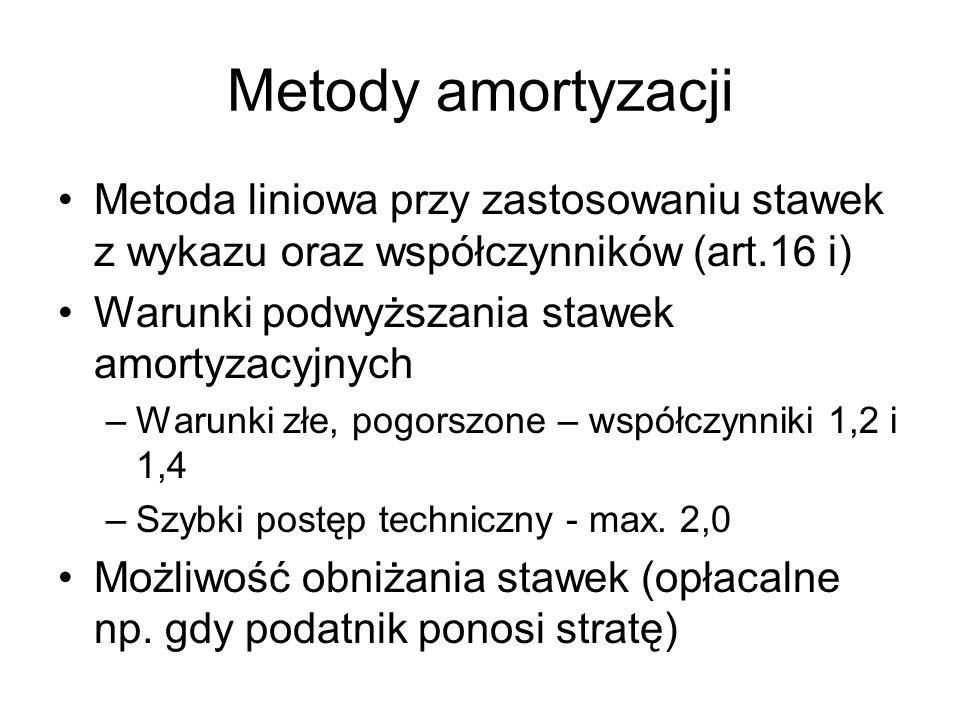 Metody amortyzacji Metoda liniowa przy zastosowaniu stawek z wykazu oraz współczynników (art.16 i) Warunki podwyższania stawek amortyzacyjnych.