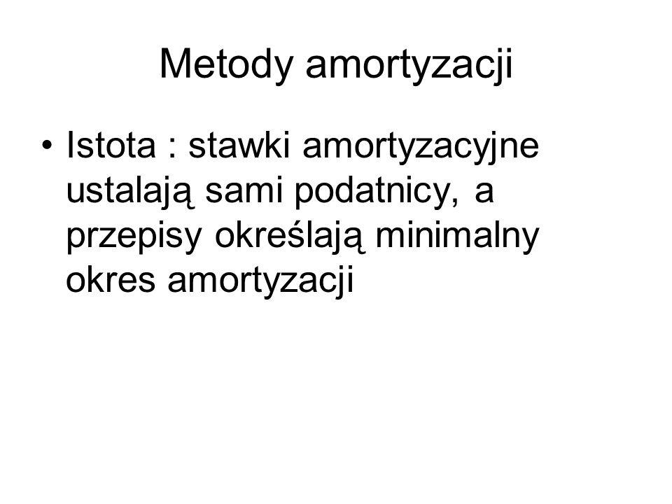 Metody amortyzacji Istota : stawki amortyzacyjne ustalają sami podatnicy, a przepisy określają minimalny okres amortyzacji.