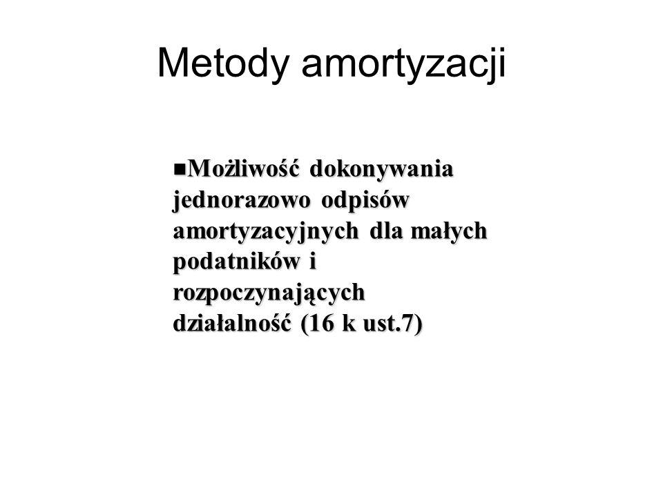 Metody amortyzacji Możliwość dokonywania jednorazowo odpisów amortyzacyjnych dla małych podatników i rozpoczynających działalność (16 k ust.7)