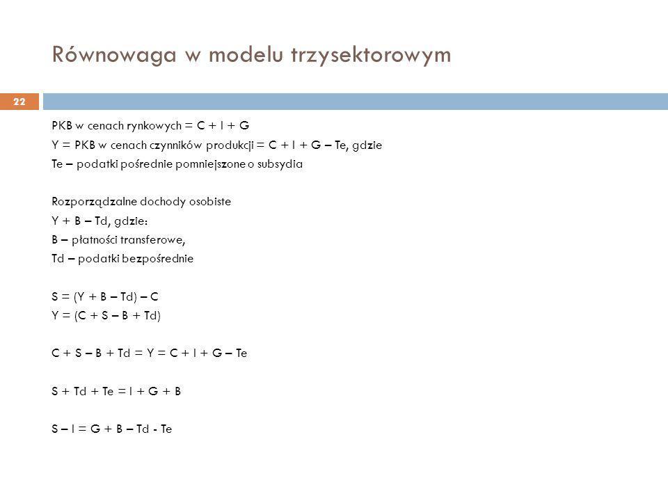 Równowaga w modelu trzysektorowym