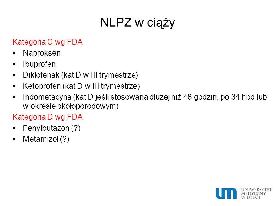 NLPZ w ciąży Kategoria C wg FDA Naproksen Ibuprofen