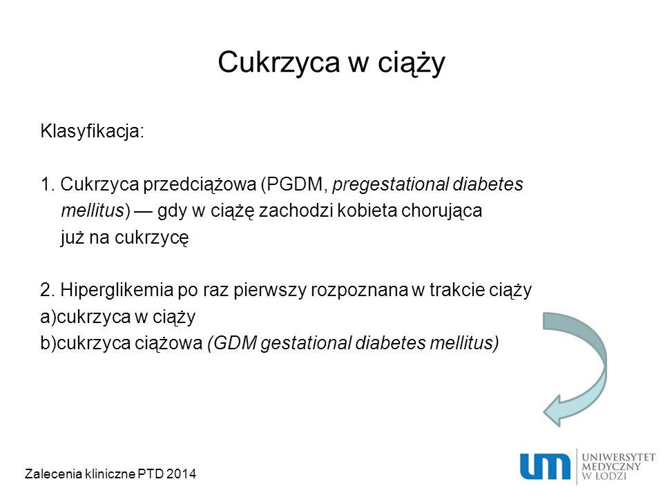 Cukrzyca w ciąży Klasyfikacja: