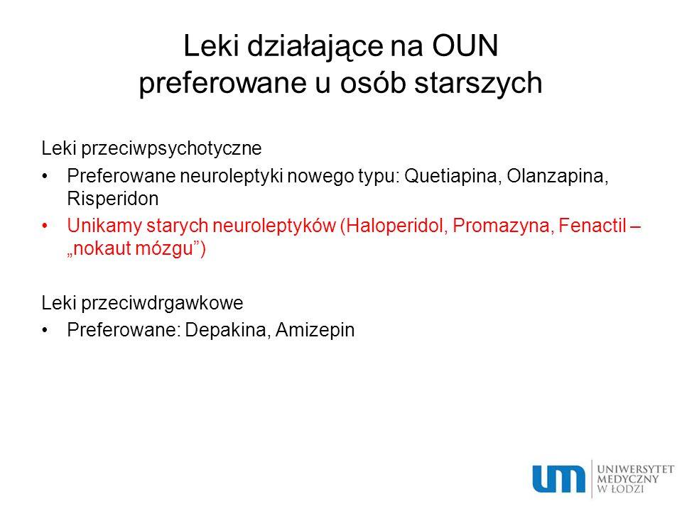 Leki działające na OUN preferowane u osób starszych