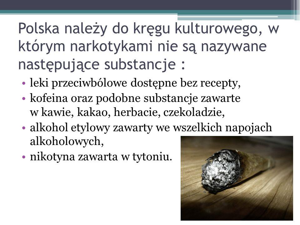 Polska należy do kręgu kulturowego, w którym narkotykami nie są nazywane następujące substancje :