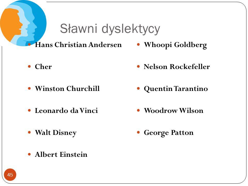 Sławni dyslektycy Hans Christian Andersen Cher Winston Churchill