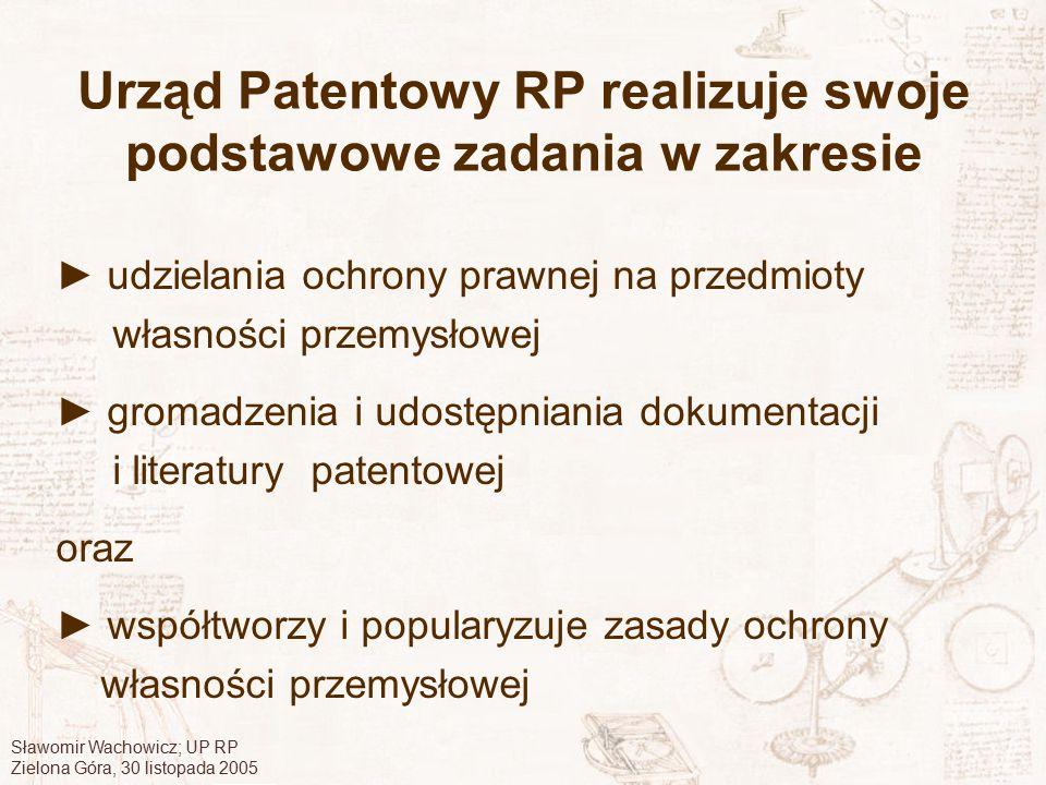Urząd Patentowy RP realizuje swoje podstawowe zadania w zakresie