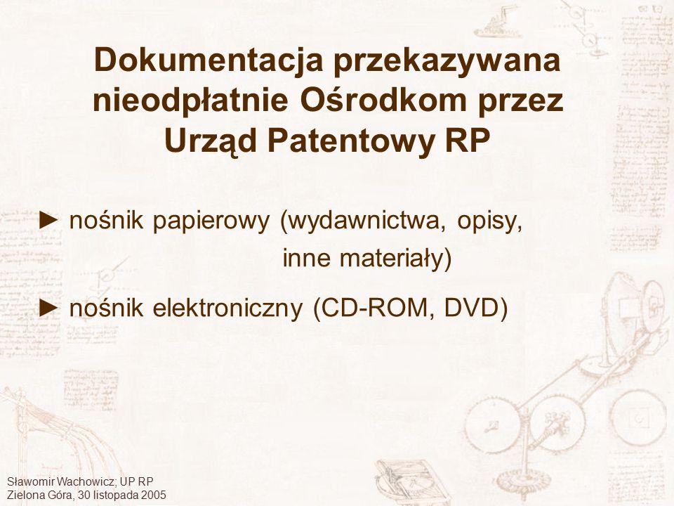 Dokumentacja przekazywana nieodpłatnie Ośrodkom przez Urząd Patentowy RP