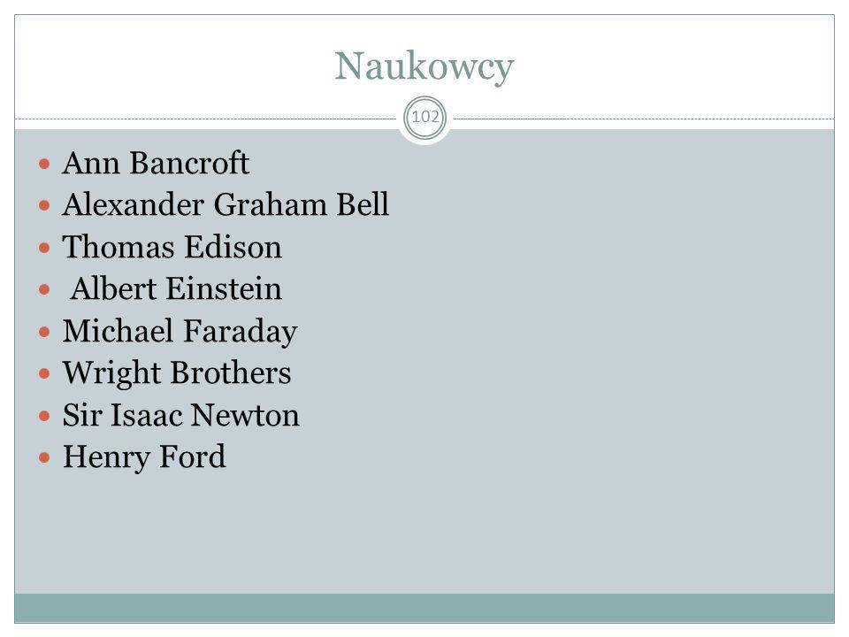 Naukowcy Ann Bancroft Alexander Graham Bell Thomas Edison