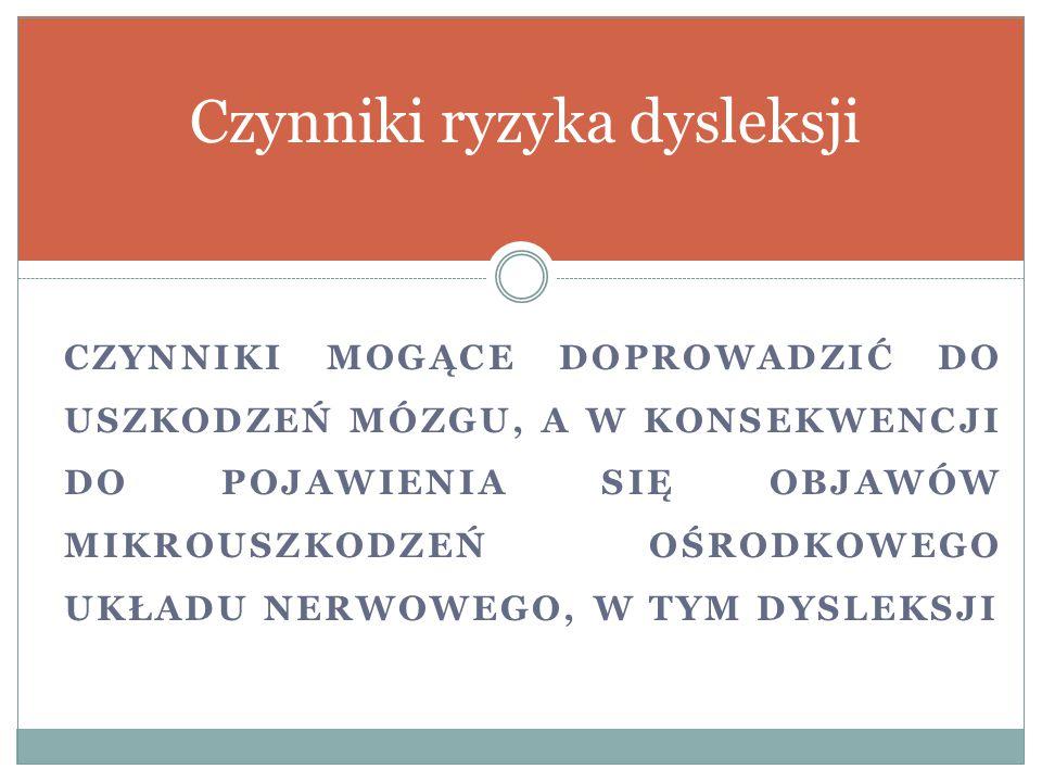 Czynniki ryzyka dysleksji