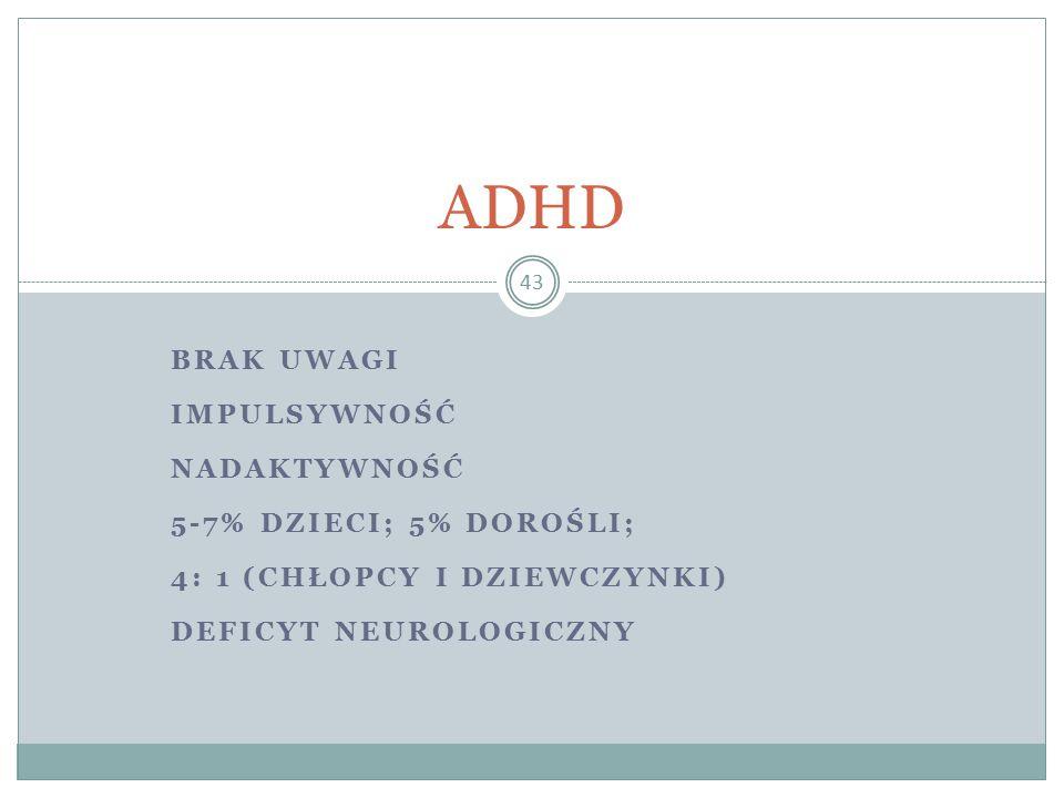 ADHD Brak uwagi Impulsywność Nadaktywność 5-7% dzieci; 5% dorośli;