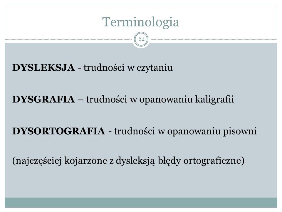 Terminologia DYSLEKSJA - trudności w czytaniu