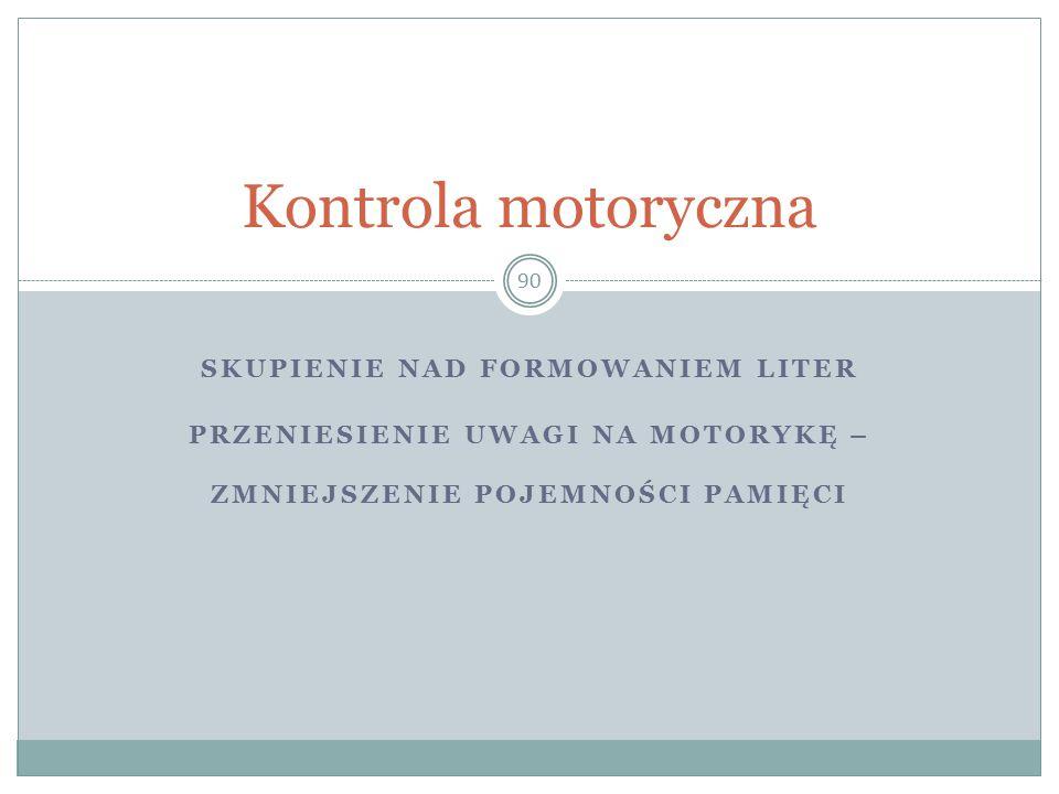 Kontrola motoryczna Skupienie nad formowaniem liter