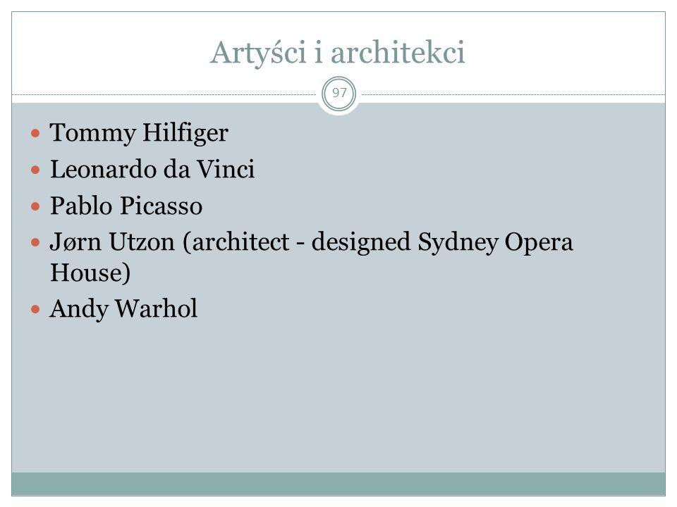 Artyści i architekci Tommy Hilfiger Leonardo da Vinci Pablo Picasso