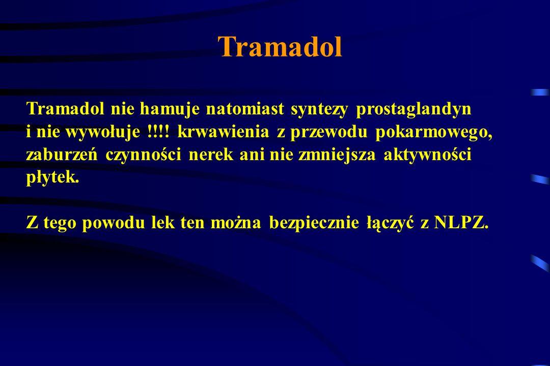 Tramadol Tramadol nie hamuje natomiast syntezy prostaglandyn