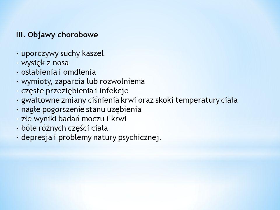 III. Objawy chorobowe