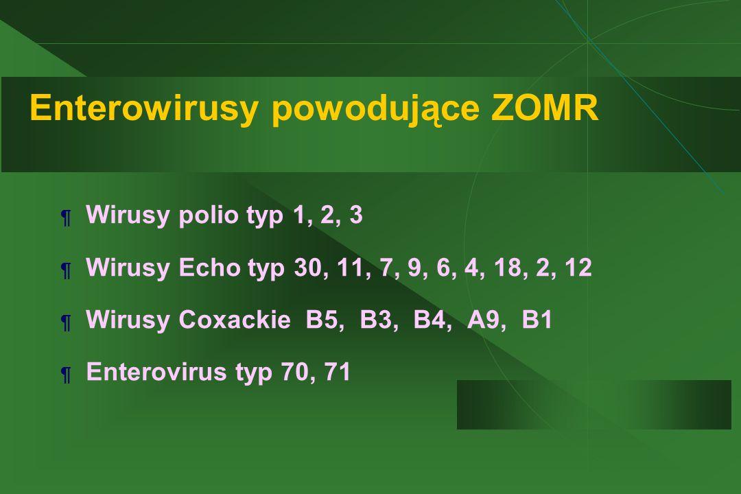 Enterowirusy powodujące ZOMR