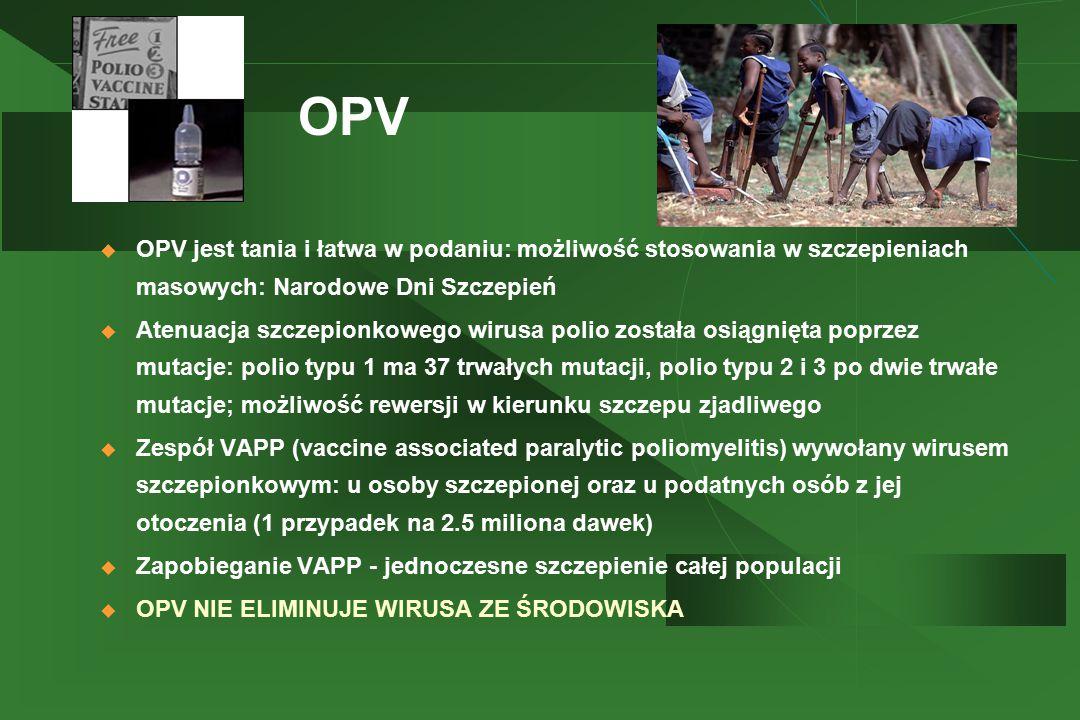 OPV OPV jest tania i łatwa w podaniu: możliwość stosowania w szczepieniach masowych: Narodowe Dni Szczepień.