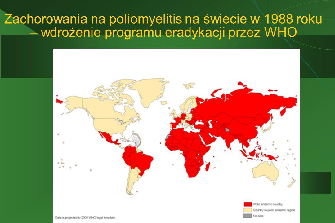 Zachorowania na poliomyelitis na świecie w 1988 roku – wdrożenie programu eradykacji przez WHO
