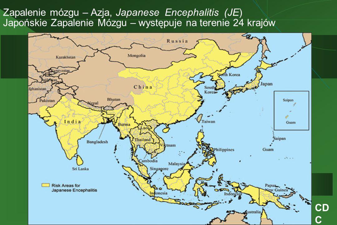 Zapalenie mózgu – Azja, Japanese Encephalitis (JE) Japońskie Zapalenie Mózgu – występuje na terenie 24 krajów