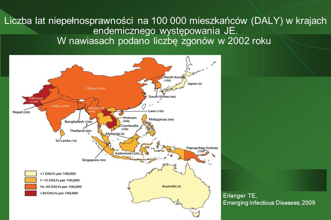 Liczba lat niepełnosprawności na 100 000 mieszkańców (DALY) w krajach endemicznego występowania JE. W nawiasach podano liczbę zgonów w 2002 roku.