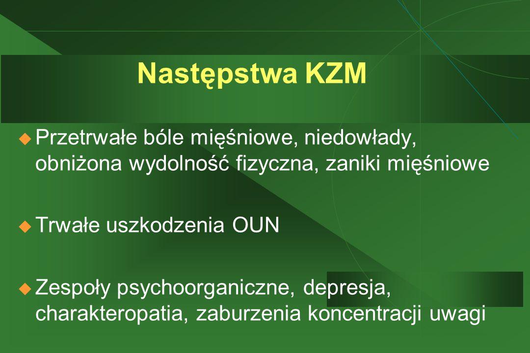 Następstwa KZM Przetrwałe bóle mięśniowe, niedowłady, obniżona wydolność fizyczna, zaniki mięśniowe.