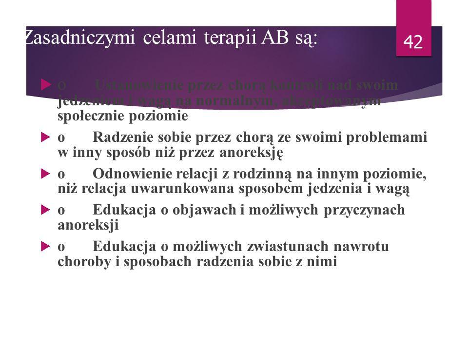 Zasadniczymi celami terapii AB są: