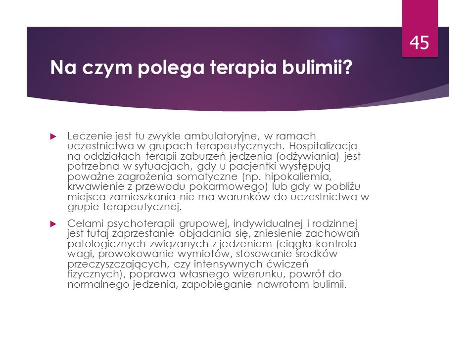 Na czym polega terapia bulimii