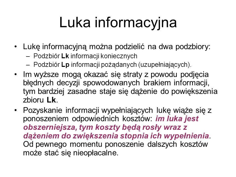 Luka informacyjna Lukę informacyjną można podzielić na dwa podzbiory: