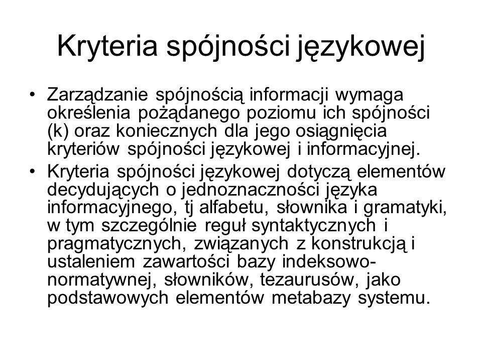 Kryteria spójności językowej