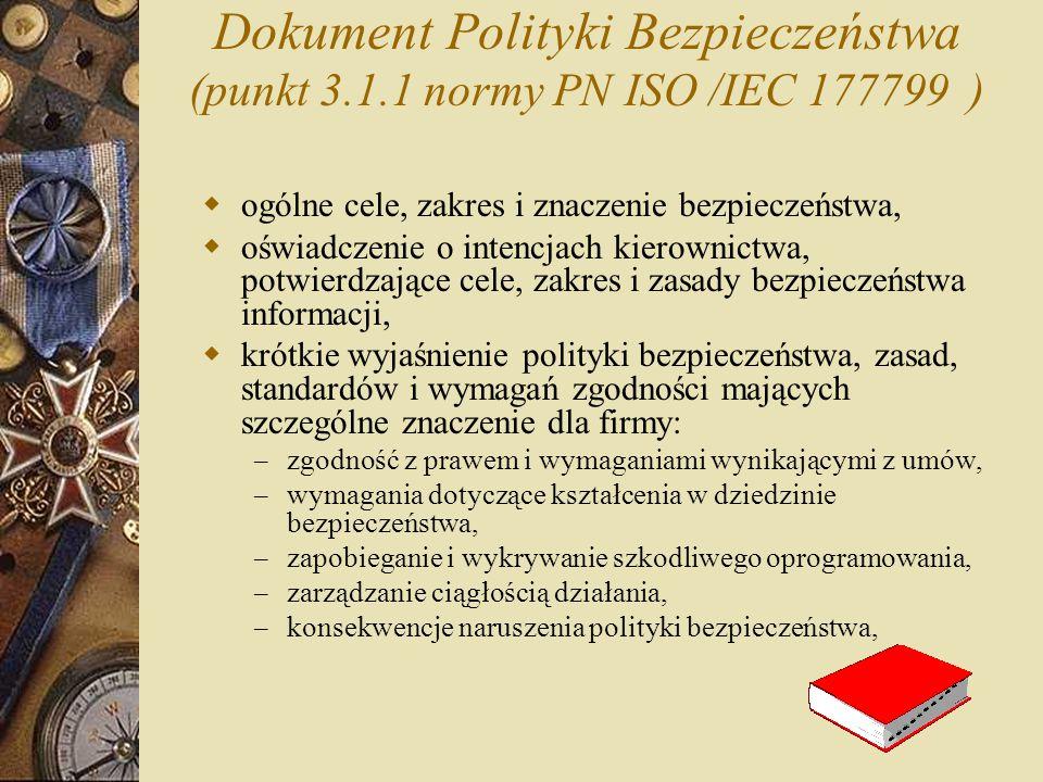 Dokument Polityki Bezpieczeństwa (punkt 3. 1