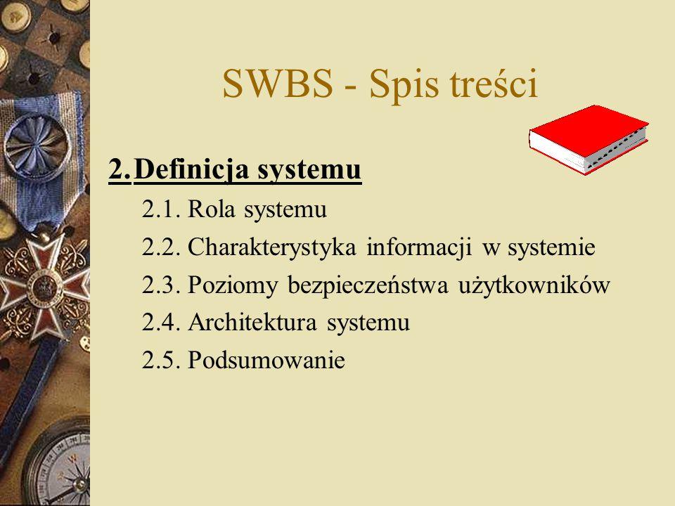 SWBS - Spis treści 2. Definicja systemu 2.1. Rola systemu